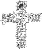 cross made of flowers