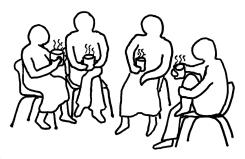 Line drawing of a group of people having a meeting