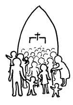 people in church doorway