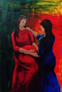 Painting of Mary and Elizabeth, both pregnant