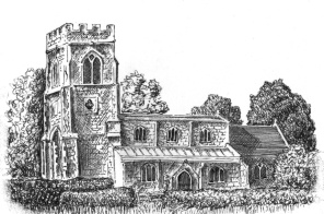 Offord Church pen and ink