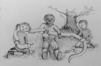 The picture is of three children (of different ethnicities) sitting on the grass near an old tree stump, which has started to sprout new branches. The children are, between them, cradling an enormous snake, and looking happy about it.
