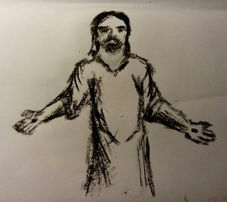 charcoal sketch of Jesus with arms outstretched saying 'Peace be with you'.