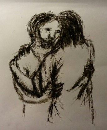 Charcoal sketch of Jesus and Peter embracing when Peter has had his chance to say 'I love you' three times to make up for his three denials