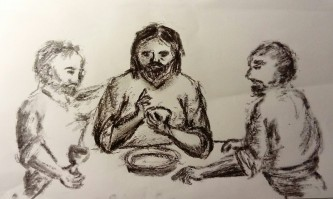 Charcoal sketch of Jesus breaking bread at Emmaus