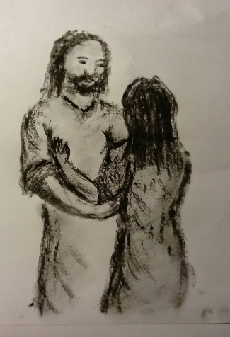 Jesus and Mary in the garden on Easter morning, drawn in charcoal