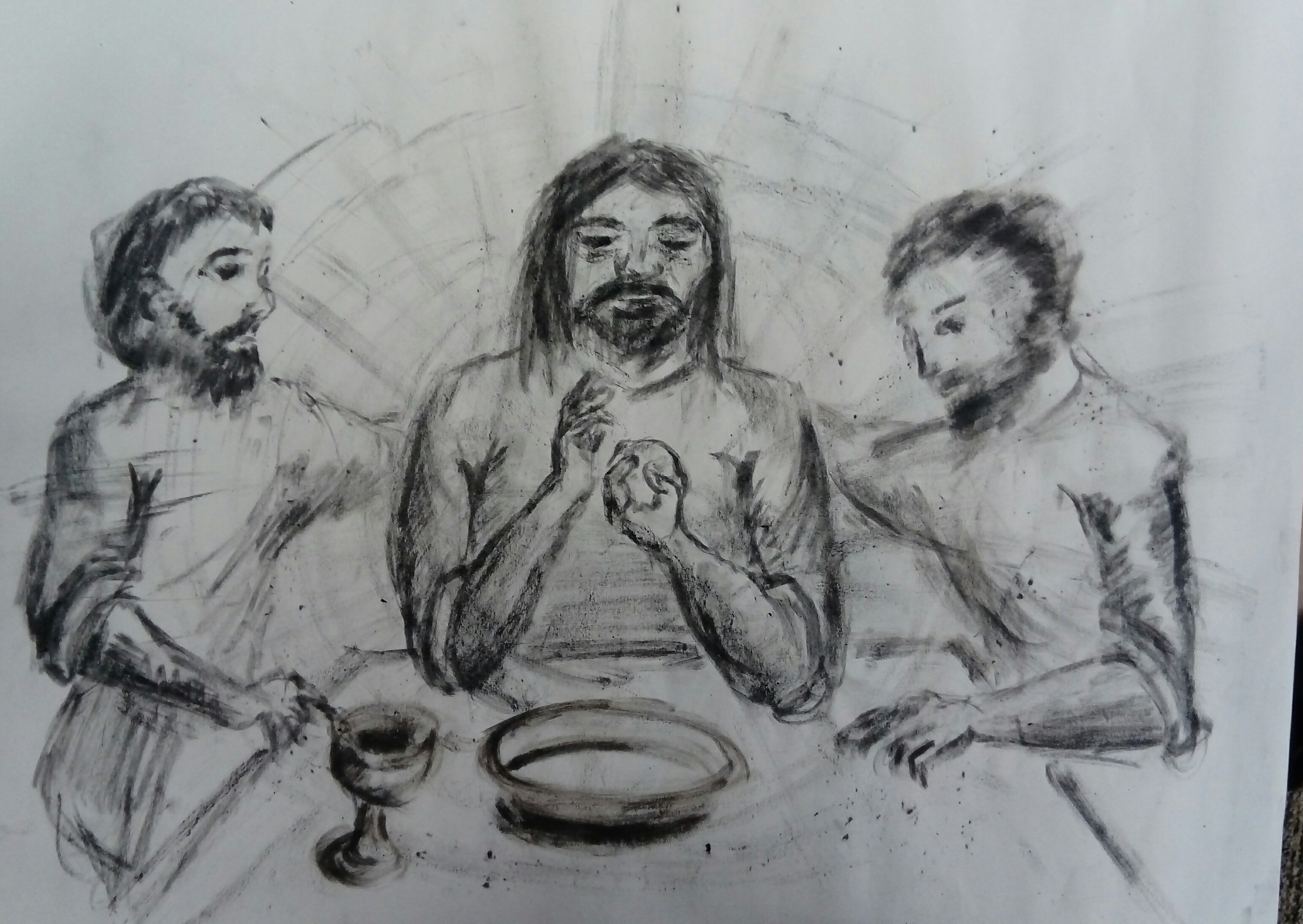 Jesus at the supper at Emmaus - drawn in charcoal