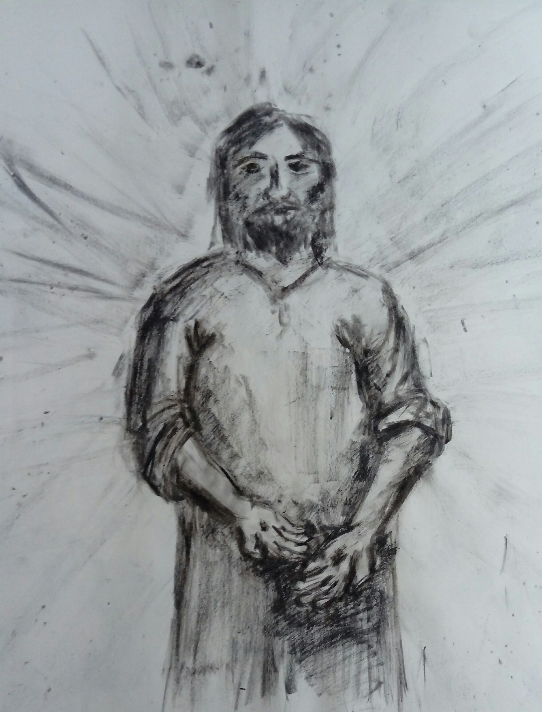 Jesus showing the disciples his wounds and saying 'Peace be with you' - drawn in charcoal