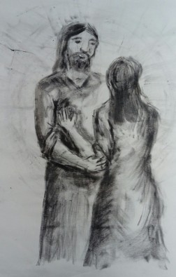 Mary and Jesus in the garden, drawn in charcoal