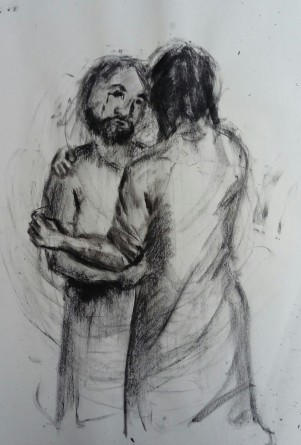 Jesus and Peter embracing after the resurrection, drawn in charcoal