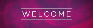 A picture that simply says 'welcome' on a coloured background.
